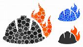 Fire Helmet Composition Of Round Dots In Various Sizes And Color Tints, Based On Fire Helmet Icon. V poster