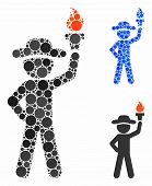 Gentleman With Freedom Torch Mosaic Of Round Dots In Different Sizes And Color Tones, Based On Gentl poster