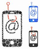 Smartphone Email Phishing Composition Of Circle Elements In Different Sizes And Color Tinges, Based  poster