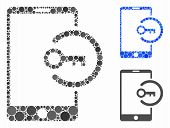 Key Login Smartphone Composition Of Round Dots In Various Sizes And Color Tones, Based On Key Login  poster