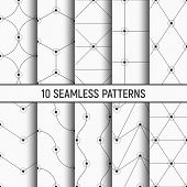 Set Of Ten Monochrome Seamless Patterns. Abstract Trendy Vector Backgrounds. Modern Stylish Textures poster
