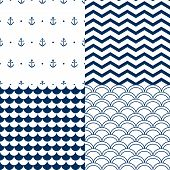 Navy vector seamless patterns set: scallop, waves, anchors, chevron