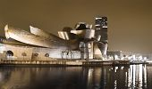Nightview of the Guggenheim Museum of Contemporary Art, in Bilbao