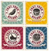 stock photo of burger  - Vintage fast food posters collection - JPG