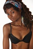 picture of anorexic  - Beautiful young black african adult woman in black lingerie isolated on a white background - JPG