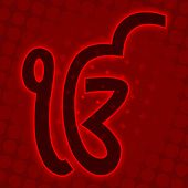 picture of khanda  - Ek Onkar symbol on a red halftone background - JPG