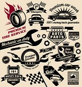 Vector set of vintage car symbols and logos