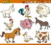 stock photo of caricatures  - Cartoon Illustration Set of Cheerful Farm and Livestock Animals isolated on White - JPG