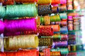 stock photo of charminar  - Bangles for Sale at the Laad Bazaar - JPG