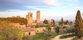 San Gimignano Landmark Medieval Town On Sunset, Towers And Park. Tuscany, Italy poster