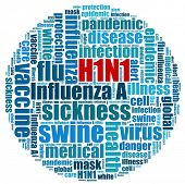 H1N1 Pandemic in word collage
