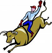 stock photo of bull-riding  - cowboy bull riding cartoon isolated white background - JPG