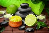 stock photo of crystal salt  - spa composition with lime and toning sea crystals - JPG