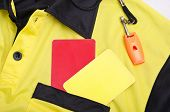 image of referee  - Referee still life objects whistle shirt and cards - JPG