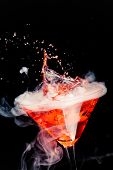 picture of vapor  - red cocktail with splash and ice vapor - JPG