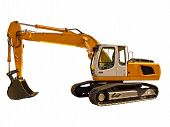 stock photo of excavator  - New industrial excavator on a white background - JPG