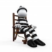 foto of gruesome  - Illustration of a Prisoner in an Electric Chair isolated on white background - JPG