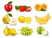 stock photo of  realistic  - Big group of different fruit - JPG