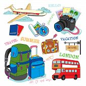 stock photo of knapsack  - Set of vector hand drawn travel icons - JPG