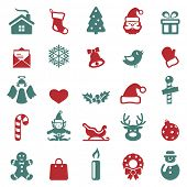 stock photo of snowmen  - Christmas icons set - JPG