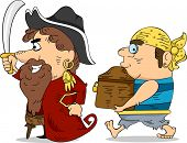 stock photo of plunder  - Illustration of Pirates Carrying a Locked Treasure Chest - JPG