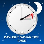 picture of daylight saving time  - vector illustration of a clock return to standard time