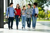 stock photo of friendship day  - Full length of happy college students walking together on campus - JPG