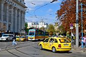 Tranway and street scene of downtown city of Sofia