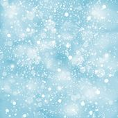 stock photo of winter  - Abstract blue winter Christmas background with bokeh lights - JPG