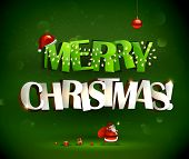 stock photo of ball cap  - Merry Christmas inscription and Santa Claus with gifts - JPG