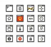Web browser windows with icons collection