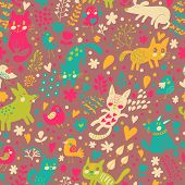 Bright seamless pattern with birds, cats and cute dogs in vector. Seamless pattern can be used for w