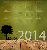 2014 calendar, tree design. Vector illustration.