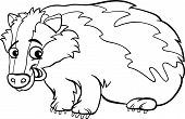 stock photo of badger  - Black and White Cartoon Illustration of Cute Badger Animal for Coloring Book - JPG