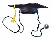 pic of professor  - Medical education concept as a doctor stethoscope shaped as a human head wearing a graduation hat or mortar board as a metaphor and symbol of health care students or hospital medicine professor - JPG