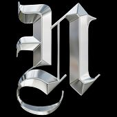 pic of letter n  - Metallic patterned letter of german gothic alphabet font - JPG