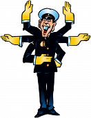 stock photo of truncheon  - Karikatu on police motion which does not cope with flow of the machines - JPG