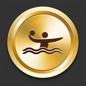 Water Polo Icons on Gold Button Collection
