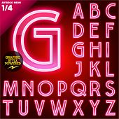 picture of fluorescent  - Vector illustration of abstract neon tube alphabet for light board - JPG