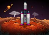 stock photo of outerspace  - Illustration of a rocket at the outerspace with planets - JPG