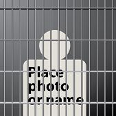 symbolic illustration with man in jail, in middle layer you can place photo or text