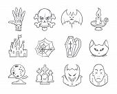 Halloween Icons Set. Isolated. LInework
