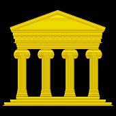 stock photo of ionic  - Gold ionic temple isolated on black background - JPG