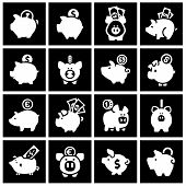 Piggy bank, set white icons on black squares