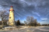 image of marblehead  - The historic Marblehead Lighthouse in Northwest Ohio sits along the rocky shores of Lake Erie - JPG