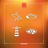 pic of pontoon boat  - 4 vector icons related to ships boats and other objects and symbols in relation to boats - JPG