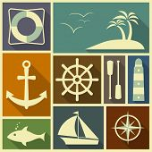 Nautical flat icons in retro colour scheme.
