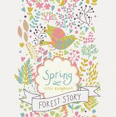 Stylish spring seamless pattern. Forest background with bright bird. Seamless pattern can be used fo