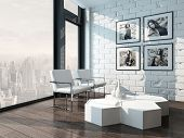 picture of lounge room  - Minimalist living room interior with white brick wall and chairs - JPG