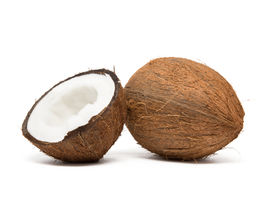 foto of half  - coconut cut in half on white background - JPG
